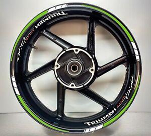 Triumph Speed Triple Green & REFLECTIVE White, Wheel Rim Sticker 025/052
