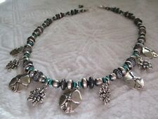 SWS 925 ZIA Sterling Silver Turquoise Bead Necklace - 20 inches long with clasp