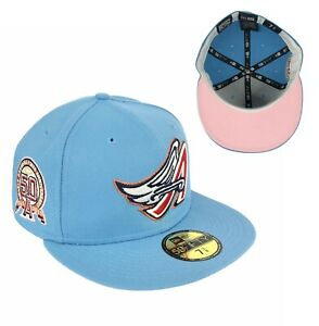 Angels 50th Anniversary Side Patch Sky Blue New Era Fitted Hat Cap Pink UV