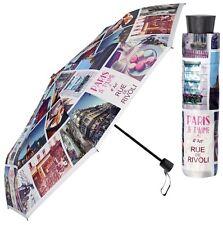 Perletti Bright Paris City Design Manual Folding Umbrella Compact Brollie Gift