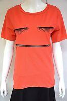 CAD35 - T-Shirt Manches Courtes Imprimé Fun Visage Cils et Fermeture -Mode Femme