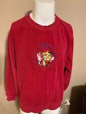 Vintage Disney Store Winnie The Pooh Red Fleece Mens Sweatshirt Medium M Piglett