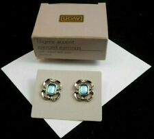 AVON FILIGREE ACCENT PIERCED EARRINGS SILVERTONE BLUE SURGICAL STEEL POSTS NOS