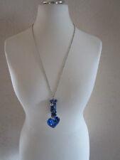 Halskette Blau-Silber 76 cm verstellbar Herz Modeschmuck Ausdrucksstark