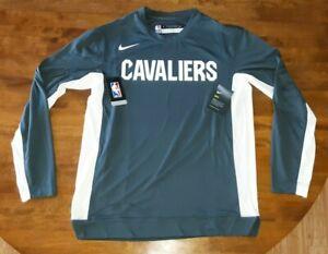 Cleveland Cavaliers Grey and White Long Sleeve Shooting Shirt Nike NBA Warm Up