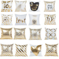 "18"" Gold Foil Printing Pillow Case Sofa Waist Throw Cushion Cover Car Home Decor"