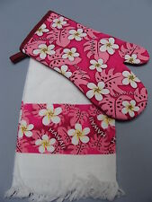 Brand New Hawaiian Kitchen Towel Oven Mitt plumeria fern pink cotton