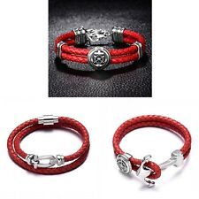 Men's Quality Red Punk Anchor Style 316L Stainless Steel Leather Braided Bangle