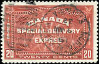 1930 Used Canada 20c F-VF Scott #E4 Special Delivery Stamp