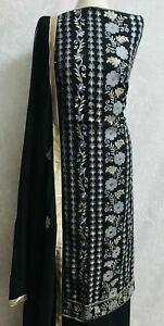 Black with light grey Embroidery on chiffon bordered suit with gem stones SP153-