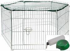 Metall Kaninchengehege Freilaufgehege + Netz Kleintiergehege Nagergehege Gehege