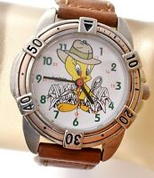 Tweety Bird Watch by Armitron Brown Leather Band Quartz Hong Kong Vintage