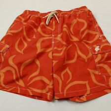 Caribbean Joe's Men's Hawaiian Swim Trunks Shorts Size Medium Floral Orange