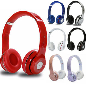 UK Wireless Headphones Bluetooth Headset Noise Cancelling Over Ear & Microphone