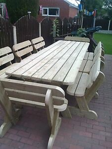 Heavy Duty Garden Table and Bench Set Massive 3.6m **NO Self Assembly required**