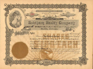 Southern Realty Company > 1903 Mobile Alabama real estate stock certificate