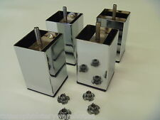4 x Square Chromed Metal Furniture/Bed Legs 10cm height + T Nuts