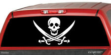 PIRATE FLAG SKULL Rear Window Graphic Decal Print Tint Truck Sticker Jeep SUV
