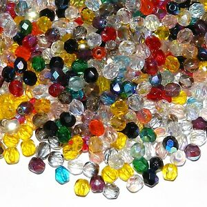 CZL21 Assorted Color Fire-Polished Faceted 4mm Round Czech Glass Beads 50pc