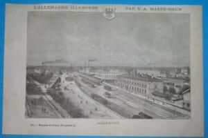 1885 ORIGINAL DORTMUND NORTH RHEIN-WESTPHALIA GERMANY Train station COAT OF ARMS