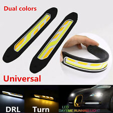 2PCS COB Car LED Daytime Running Light Driving Lamp Waterproof Amber turn signal