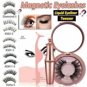 Magnetic Eyelashes False Eye Lashes Extension Liquid Eyeliner and Tweezer NEW