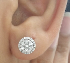 DEAL! 0.50CT NATURAL ROUND DIAMOND CLUSTER HALO STUD EARRING IN 14K GOLD
