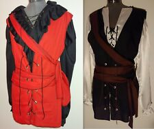 custom-made size black or red custom pirate vest with black surged edges