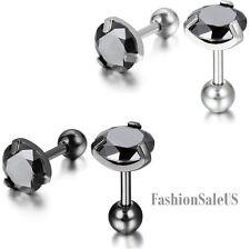 Stainless Steel Unisex Men's Women's Round Screw Back Pierced Ear Studs Earrings