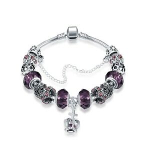 925 Sterling Silver plated Charm Bracelet with European Charms (same as Pandora)
