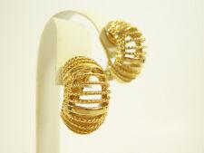 Monet Gold Plate Wide Hoop Clip Earrings Shiny n Brushed Twist Vintage Estate