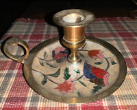 Vintage Hand painted Floral Polished Brass  Candle Stick Holder India