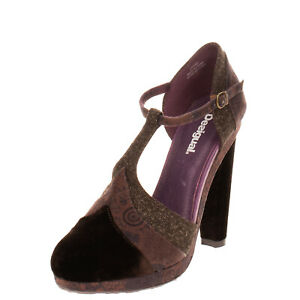 RRP €135 DESIGUAL T-Strap D'Orsay Shoes EU 40 UK 6.5 Heel Partly Leather Lining