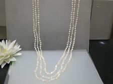"32-36"" vintage Japanese small Biwa pearl 3 layers necklace individually knotted"