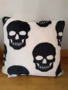 Cynthia Rowley Curious Halloween Faux Fur Black & White Skull Throw Pillow 20x20