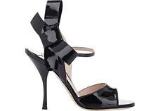 2156fcd1f44e MIU Miu-prada Black Patent Strap Bow Mary Jane Sandals Shoes Slingback 37