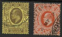 SG285 & 286. 3d.Purple/Lemon & 4d.Orange-Both Perf.15x14. FIne Used.  Ref.0/116