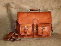 Vintage Leather Briefcase Business Laptop Attache Messenger Portfolio Bag Brown