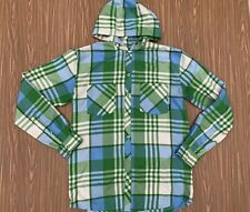 Burton Dryride Mens Snowboard Ski Hoodie Button Shirt Jacket Green Plaid Medium