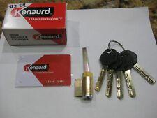 Kenaurd Lock Cylinder w/ 5 keys & Copy Card. Satin Chrome. New. High Security.