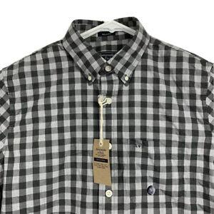 Men's Abercrombie Fitch Plaid Stretch Poplin Shirt Gray Small New