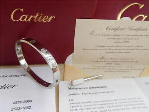 =**Cartier =Love Bangle Bracelet 18k White Gold With Diamond Size  18 =*