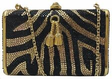 Italian black/gold brass evening bag covered w/ Swaroski crystals; FACTORY PRICE