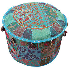 Indian Patchwork Floor Pillows 18'' Round Ottomans Footstools Bohemian Pouffe