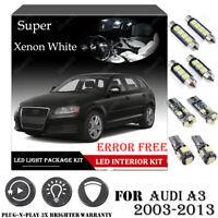 10PCS For Audi A3 2003-2013 Xenon White 6000K Car Interior LED Light Package Kit