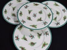 "MIKASA Ultima  4 CHRISTMAS WISH Pine Cones & Holly Fine China 8.5"" Salad PLATES"