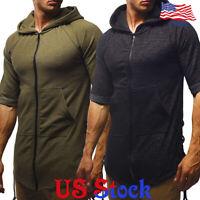 Men's Slim Solid Color Short Sleeve Hoodie Muscle Tee T-shirt Casual Tops Blouse