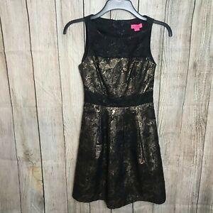 Stunning Black Gold Metallic MONSOON Skater Dress Size 6 VGC
