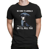 Be Kind To Animals or I'll Kill You Dog Lover Vegan Funny Men Black T-Shirt Tee