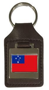 Leather Keyring Engraved Western Samoa Flag